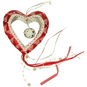 Závěsná dekorace srdce s rolničkou
