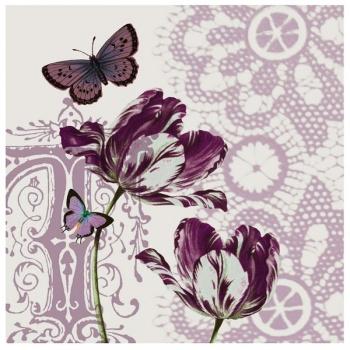 Obraz na plátně - tulipány s motýly