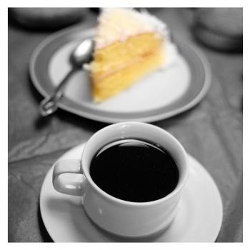 Obraz na plátně - káva s dortem