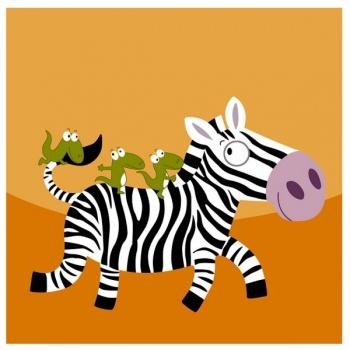 Dětský obraz - zebra se zvířátky