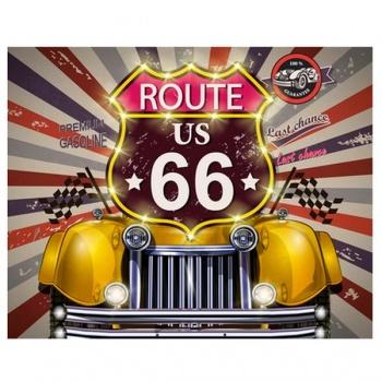 Obraz na plátně - auto Route 66 žlutá