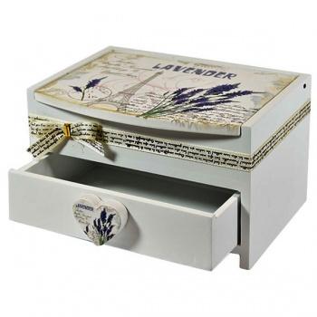Dřevěná skříňka na bižuterii - levandule
