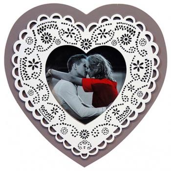 Fotorámeček - dřevo - srdce