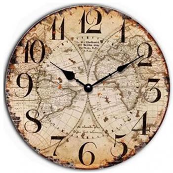 Nástěnné hodiny - motiv mapa