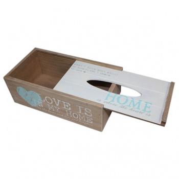 Krabička na papírové kapesníky - dřevo - srdce