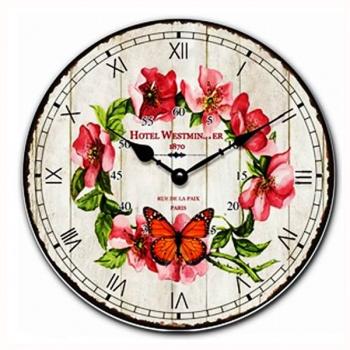 Nástěnné hodiny - motiv motýl