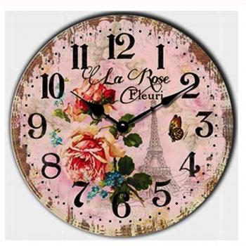 Nástěnné hodiny - motiv růže